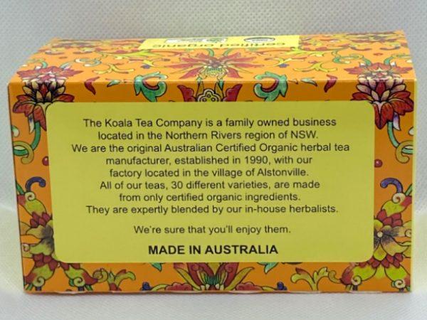 Sample history of Koala Tea Company shown on back of packet