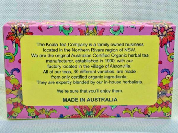 Dreamtime Certified Organic Tea by Koala Tea Company back of packet