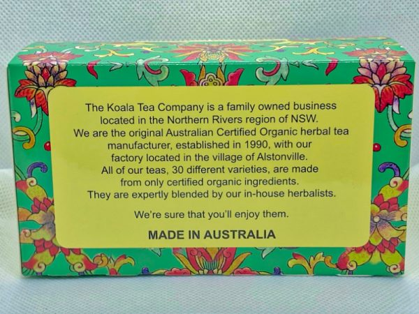 Hemp seed Certified Organic Tea by Koala Tea Company back of packet
